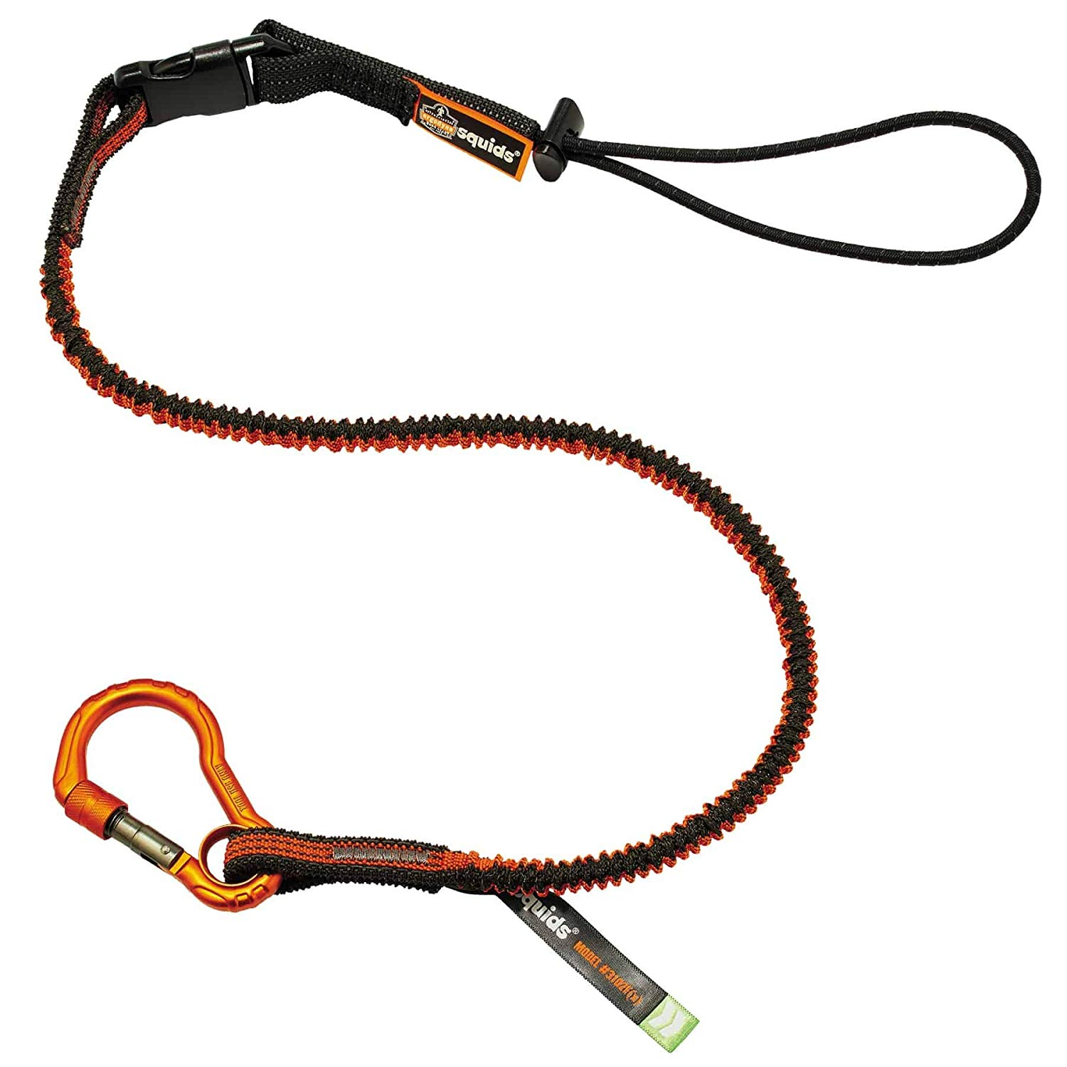 Shock Absorbing Tool Lanyard with Self-Locking Carabiner and Detachable Loop End, Tool Weight Capacity 5lbs, Squids 3102, Approved to the ANSI/ISEA 121-2018.., By Ergodyne