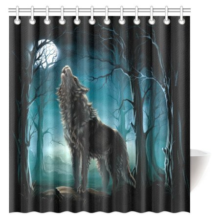 MYPOP Animal Shower Curtain Wolf Silhouette Howls In Woods Leafless Trees Full Moon Wilderness Nature
