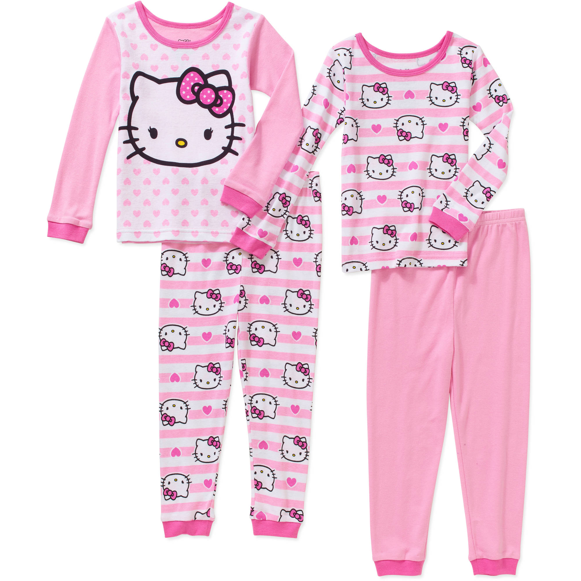 Hello Kitty Toddler Girl Cotton Tight Fit Pajamas 4pc Set