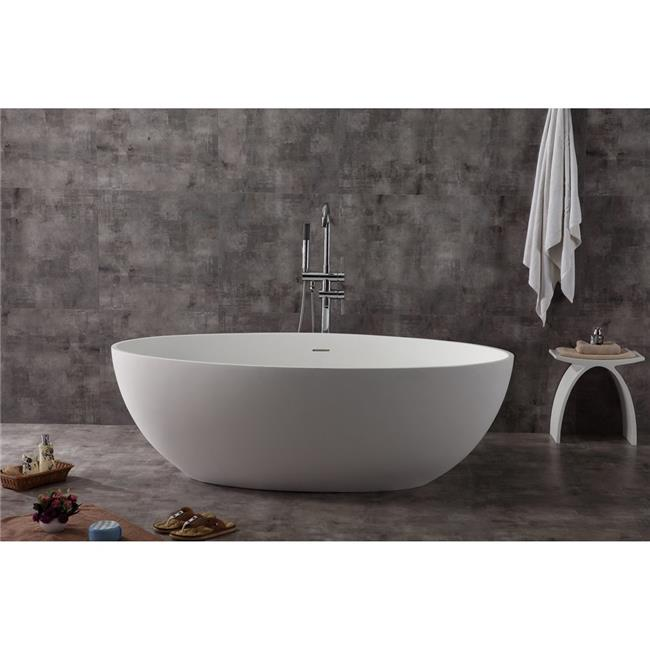 67 in. White Oval Solid Surface Smooth Resin Soaking Bathtub