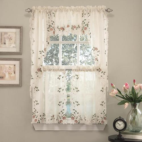 Old World Floral Embroidered Kitchen Curtain Tier and Valance TAILORED VALANCE