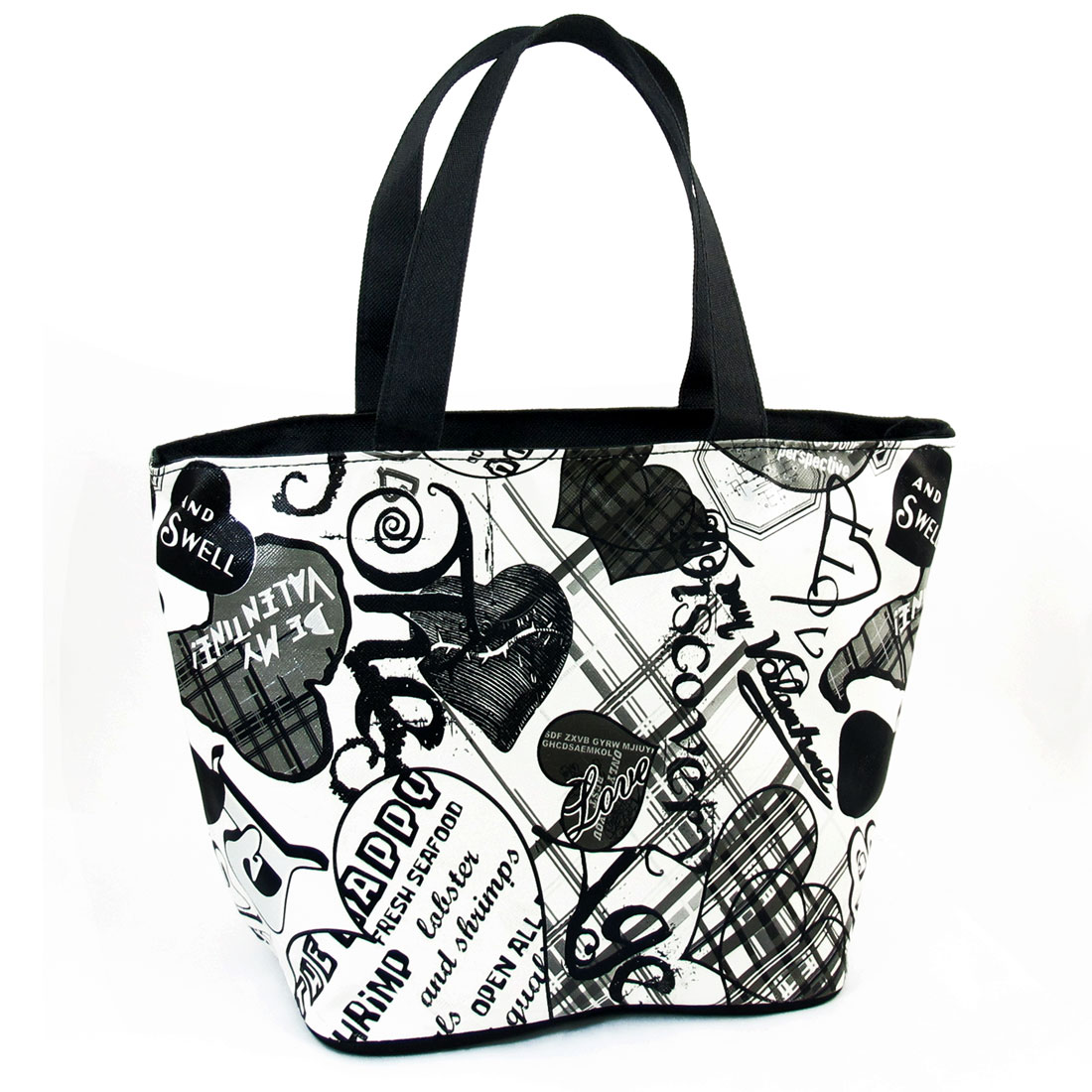 Compact Zip up Black White Hearts Letters Prints Black White Shopping Handbag