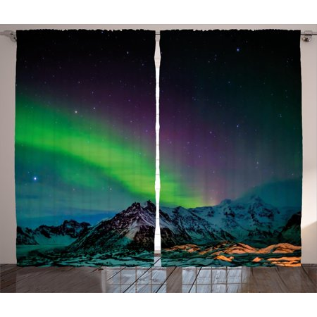 Northern Lights Curtains 2 Panels Set, Southern Iceland on Sky over Rocky Hills Wild Night View, Window Drapes for Living Room Bedroom, 108W X 90L Inches, Lime Green Dark Blue Violet, by Ambesonne