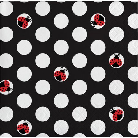 Party Creations Ladybug Fancy Beverage Napkins, 16 Ct