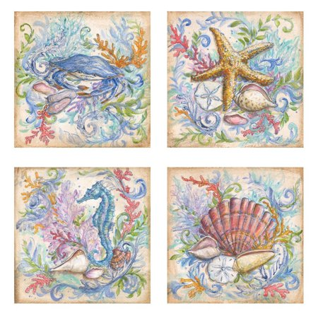 Beautiful Soft Colorful Under the Ocean Set; Crab Starfish Seahorse Seashell; Four 12x12 Paper Prints