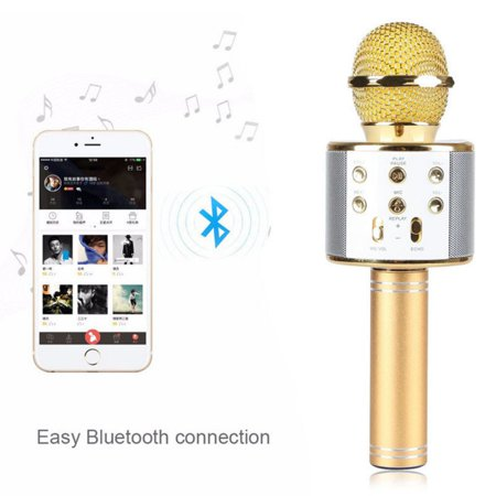 WS858 Bluetooth Wireless Karaoke Handheld Microphone USB KTV Player Bluetooth Mic Speaker Record Music with Carring
