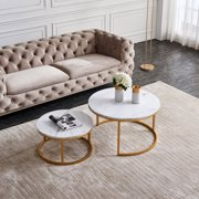 Hommoo Modern Round Coffee Accent Table, with Faux Marble Tabletop and X Base Gold Metal Frame, Suit for Living Room, Home Office, Easy Assembly