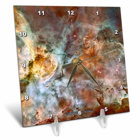 3dRose Galaxy and Nebula - Eta Carinae Nebula by NASA Hubble Telescope, Desk Clock, 6 by 6-inch