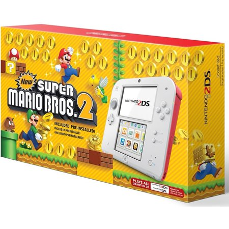 Nintendo 2Ds   Scarlet Red W New Super Mario Bros  2 Bundle