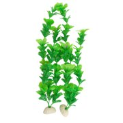 Aquarium Decoration 2 Pcs Green Plastic Plant w Oval Base