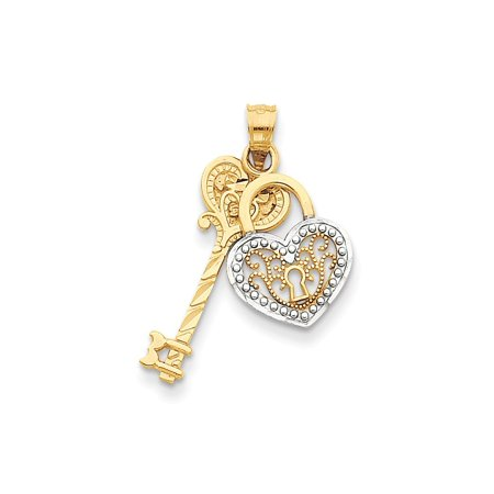 14k Yellow Gold White Filigree Heart Key Lock Pendant Charm Necklace Love With Gifts For Women For Her