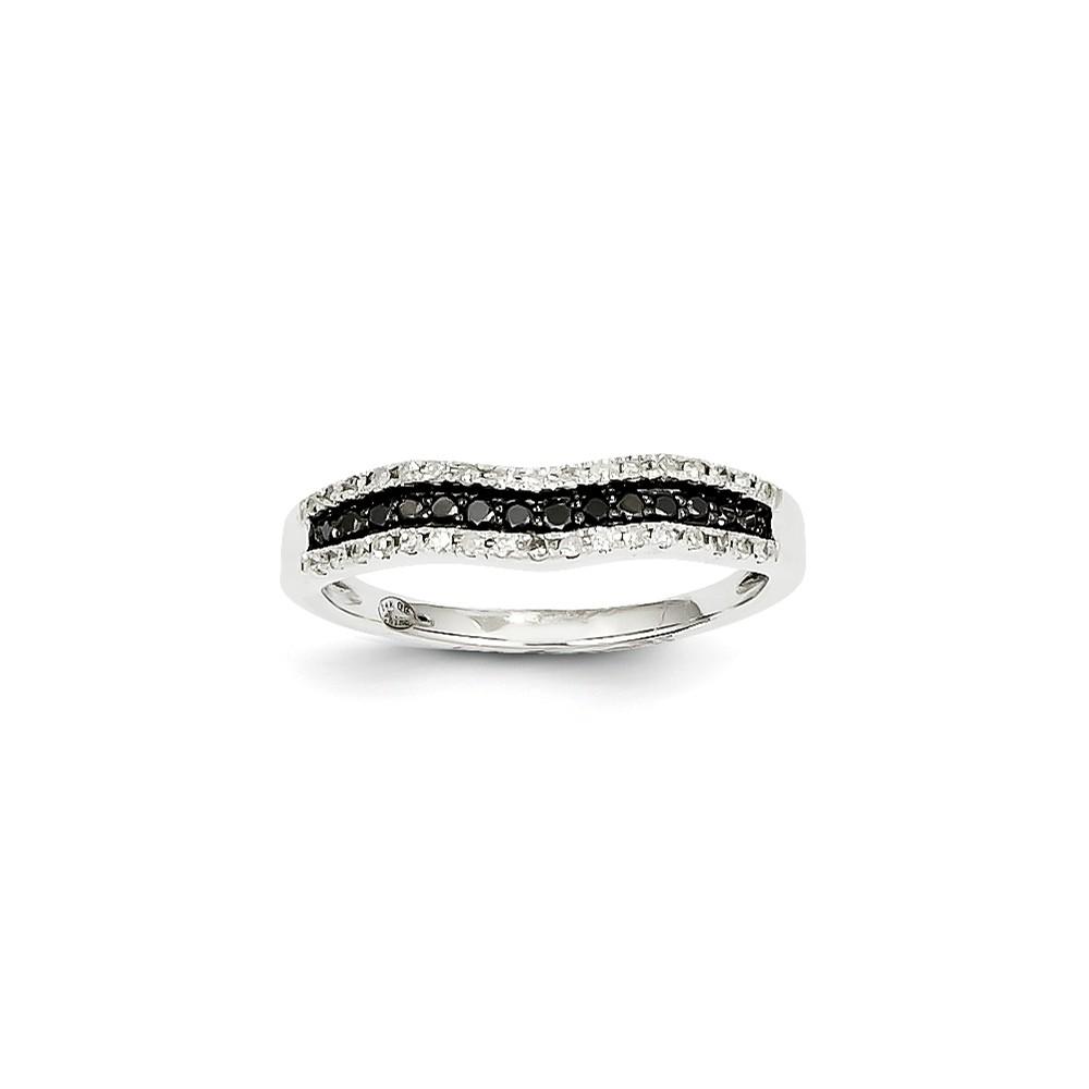 14k White Gold White & Black Diamond Channel Ring. Carat Wt- 0.25ct