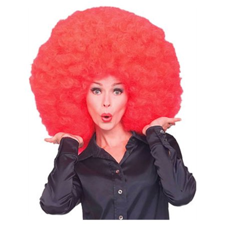 New Mens Womens Costume Huge Red Afro Disco Clown Wig](Red Wig For Kids)