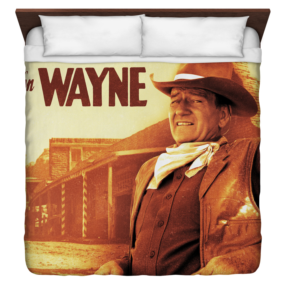 John Wayne Old West King Duvet Cover White 104X88
