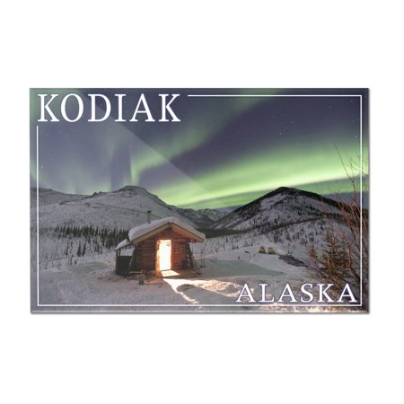 Kodiak  Alaska   Northern Lights   Cabin   Lantern Press Photography  12X8 Acrylic Wall Art Gallery Quality