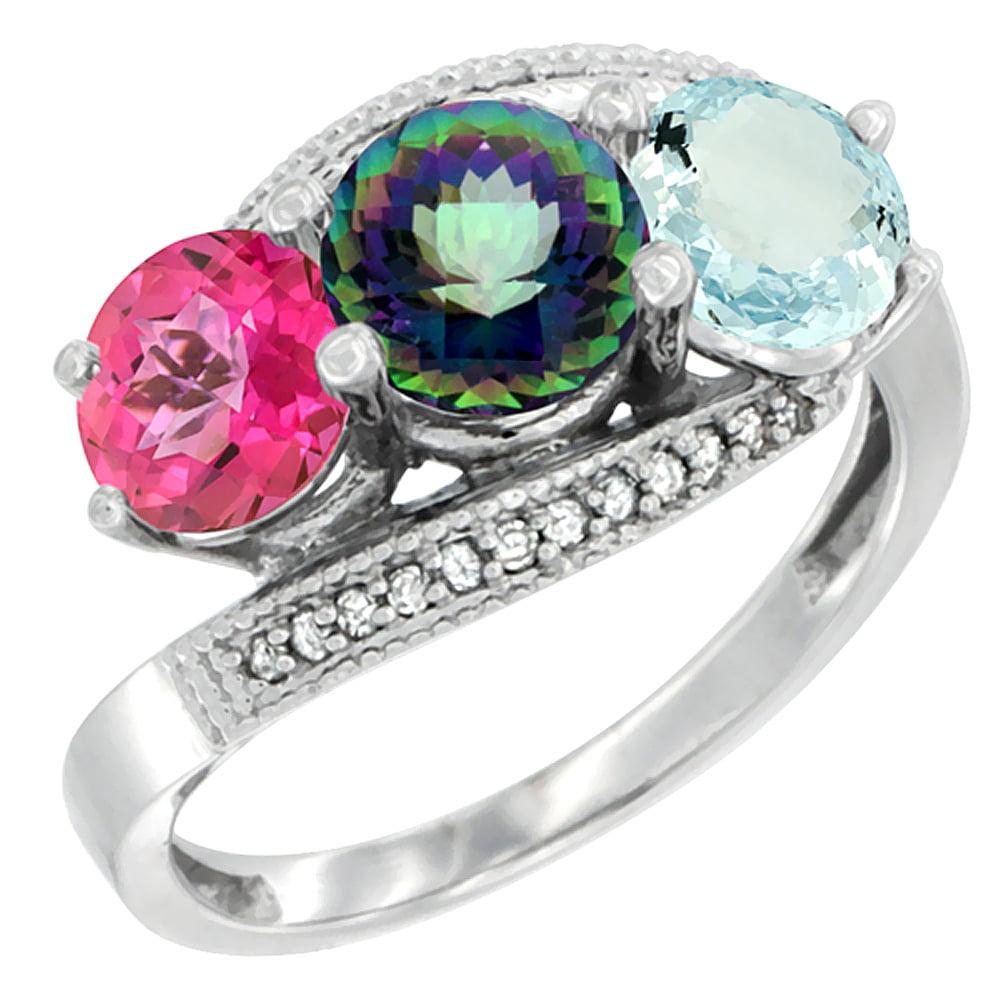 14K White Gold Natural Pink Topaz, Mystic Topaz & Aquamarine 3 stone Ring Round 6mm Diamond Accent, size 6 by Gabriella Gold
