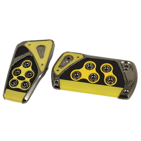 - 2 Pcs Black Yellow Manual Car Nonslip Clutch Brake Gas Pedal Pad Kit Set