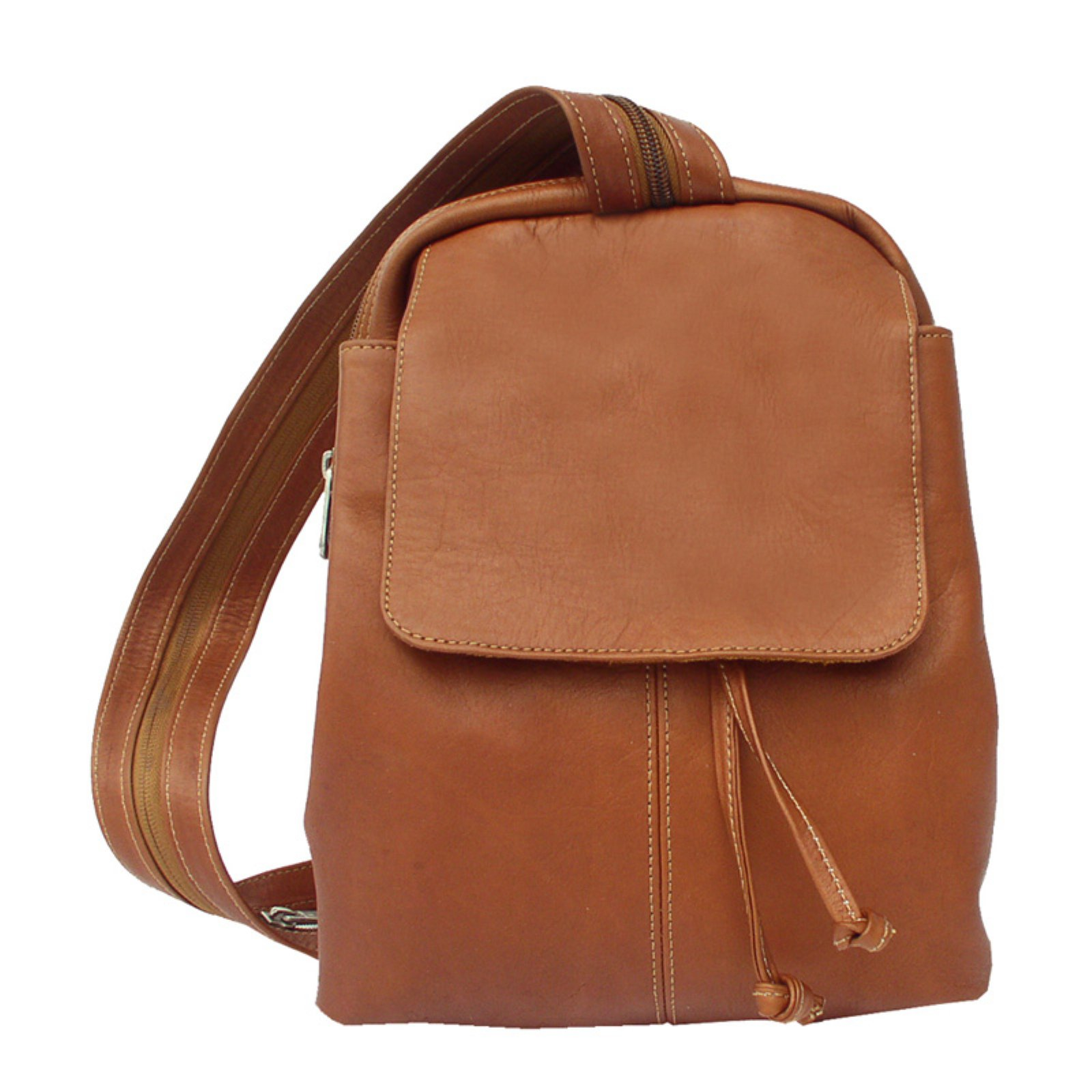 Piel Leather Small Drawstring Backpack - Saddle