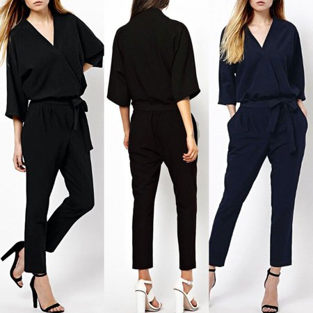 Sexy Women V Neck Overalls Jumpsuit Long Sleeve Clubwear Bodysuit Romper Trouser