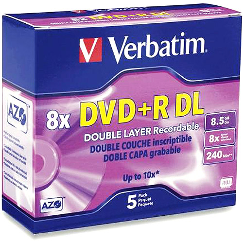 Verbatim 8.5GB 8X(Up to 10X with Compatible High Speed DVD+R DL Drives) DVD+R DL 5 Packs Jewel Case Branded Disc