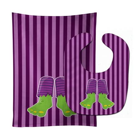 Halloween Frankenstein Feet Baby Bib & Burp Cloth (Toddler Frankenstein)