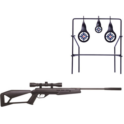 Crosman F4 NP .177 Caliber Break Barrel Air Rifle and Metal Shooting Target Bundle