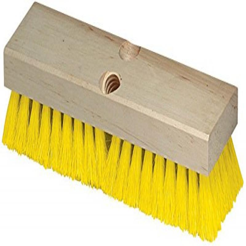 "Carlisle 36193MX04 Flo-Pac Deck Scrub Brush, Hardwood Block, 2""-Long Crimped Yellow Polypropylene Bristles, 10"" L x 2.87"" W (Case of 12)"