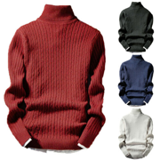 Mens Winter Warm Knitted Roll Turtle Neck Pullover Sweater Jumper Casual