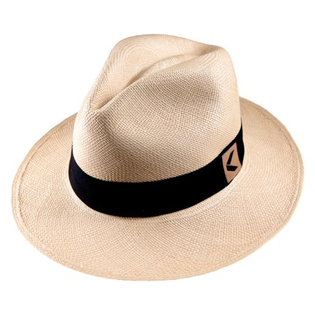 Toquilla Straw Panama Hat Ecuador Handwoven - Fedora Style with Gift Bag and