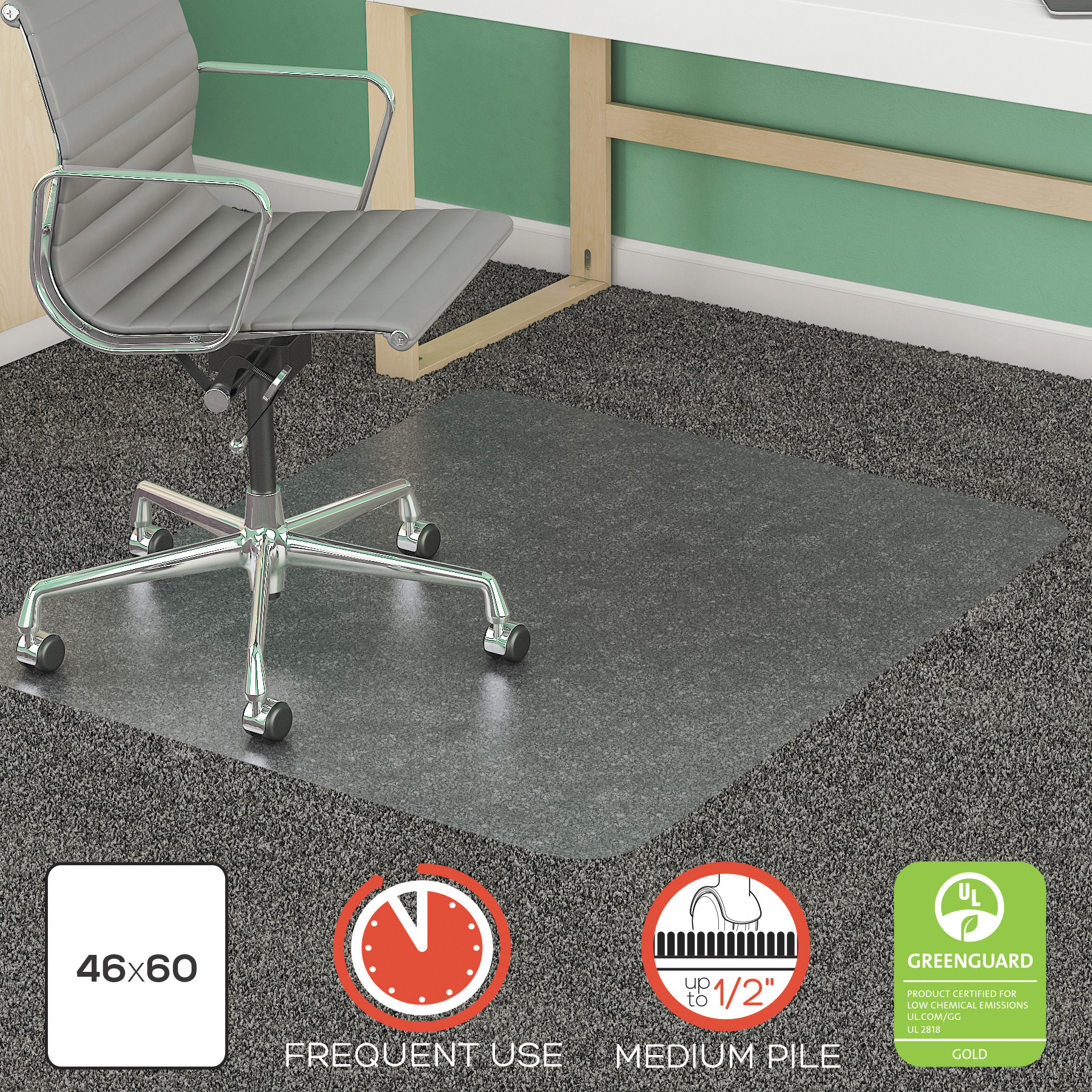 deflecto SuperMat Frequent Use Chair Mat, Med Pile Carpet, Roll, 46 x 60, Rectangle, CR -DEFCM14443FCOM