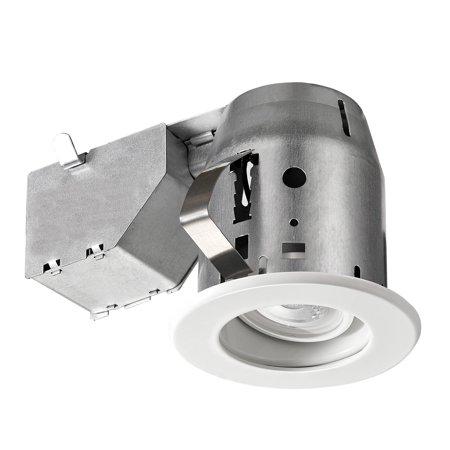 Globe Electric 3 in. White Swivel Recessed Lighting Kit, Energy Star Certified, LED Bulb Included, 91198 3' Recessed Lighting Trim