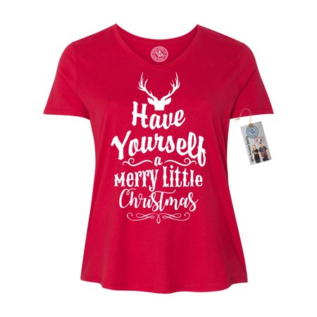 Have Yourself Merry Little Christmas Plus Size Women V Neck