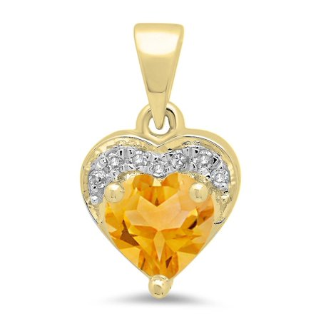 0.60 Carat (ctw) 18K Yellow Gold Heart Cut Citrine & Round Cut White Diamond Ladies Heart Pendant