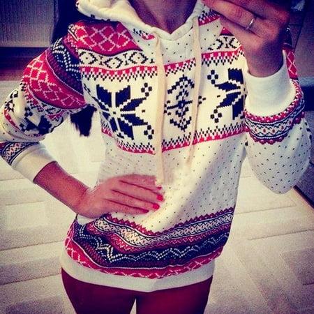 Women Hoodie Sweatshirt Jumper Sweater Pullover Top Coat Christmas Hoody 2Colors ()