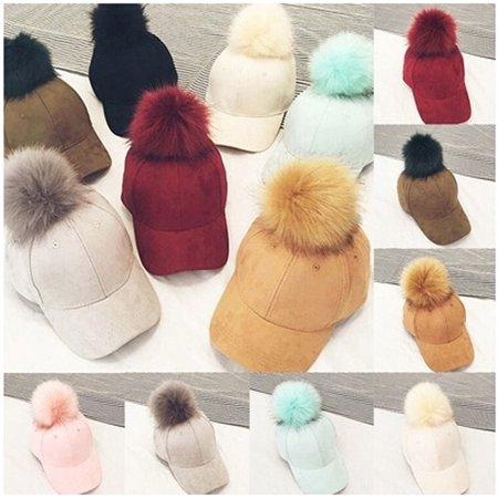 Charm Women Soft Faux Fox Fur Pom Pom Ball Suede Baseball Cap Hip-Hop Hat Cap ()