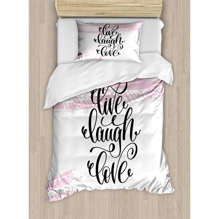 Live Laugh Love Twin Size Duvet Cover Set Abstract Pink