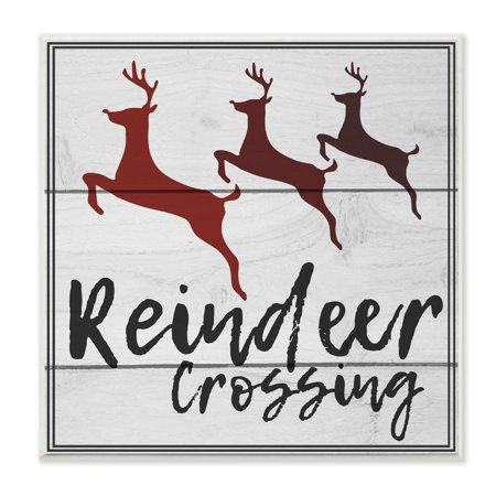 The Stupell Home Decor Collection Reindeer Crossing Sign Wall Plaque Art, 12 x 0.5 x 12 ()