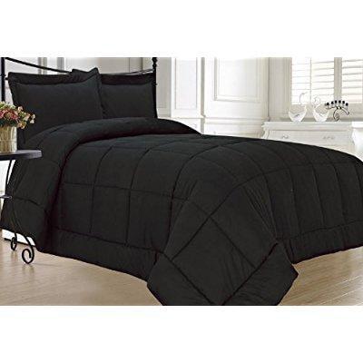 elegant comfort luxury down alternative over-filled comforter/duvet cover insert hypoallergenic, twin, black