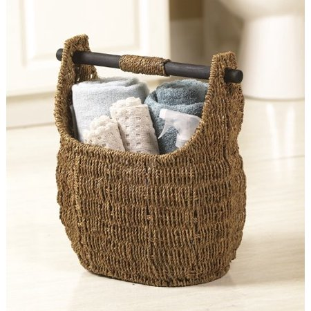 Vintiquewise Free Standing Magazine And Toilet Paper Holder Basket With Wooden Rod 3071 Brown