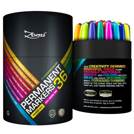 Permanent Colored Marker Fine Point Set 36 Markers 100% Money Back Guarantee 18 Colors Pens with Black Color Eco Pack Felt Tip Free Shipping