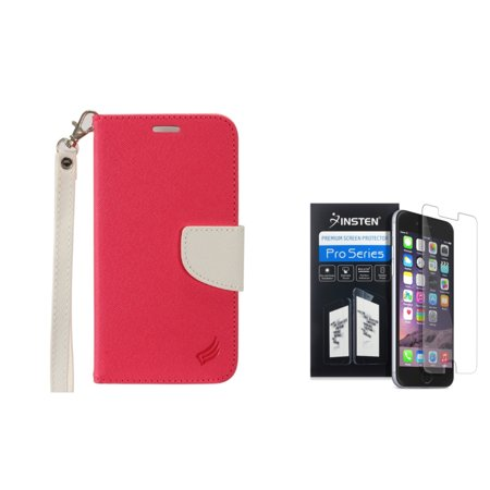 Insten for Apple iPhone 7 - Clear Screen Protector + Leather Wallet Case with card slot - Hot Pink/White (Leather Large Screen)