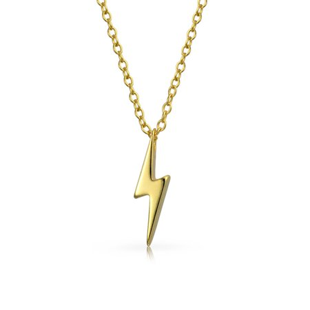 Minimalist Geometric Zig Zag Lightning Bolt Pendant Necklace For Women For Teen 14K Gold Plated 925 Sterling Silver Geometric Yellow Necklace