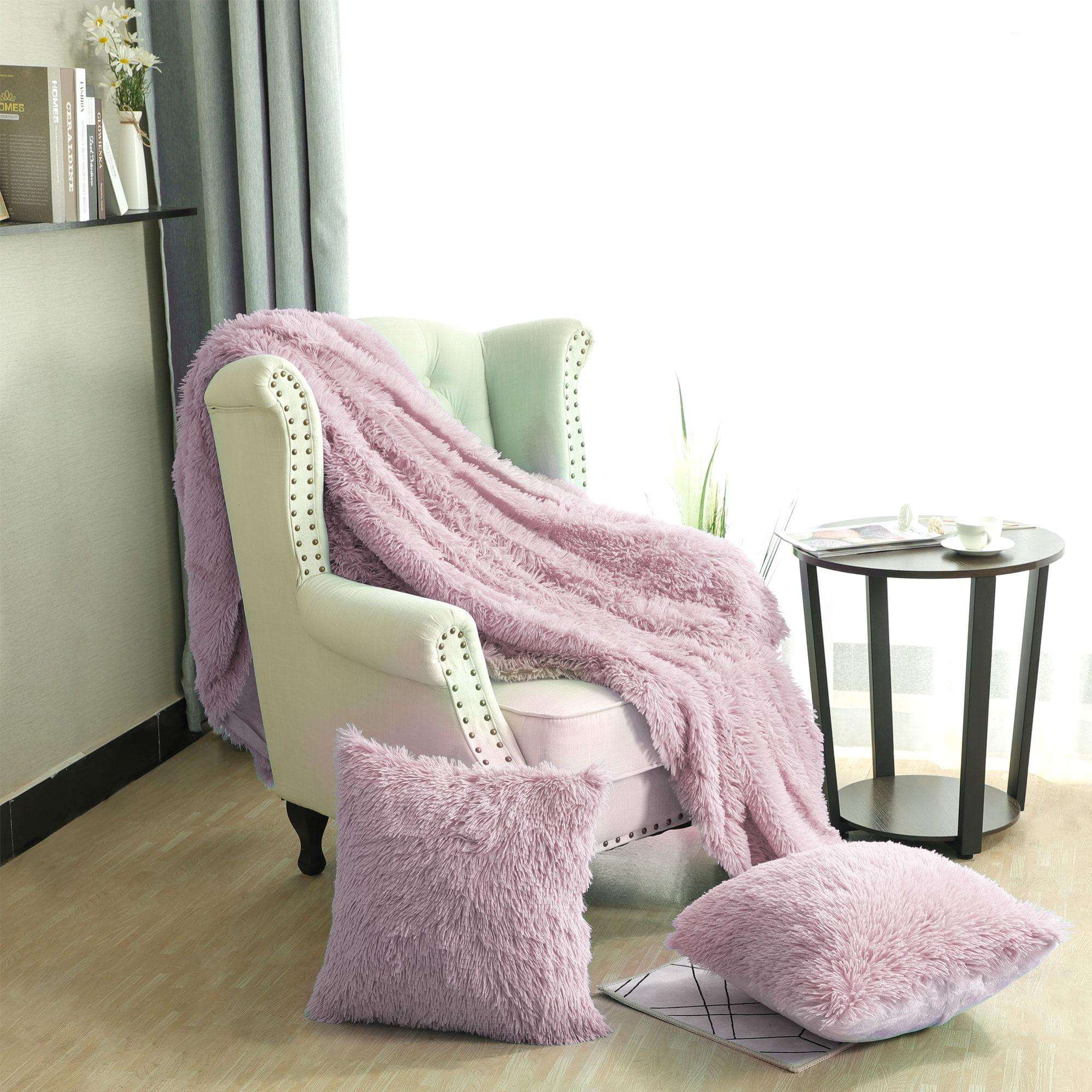Faux Fur Fleece Throw Blanket W 2 Shaggy 18 X 18 Cushion Covers Dark Pink Walmart Com Walmart Com