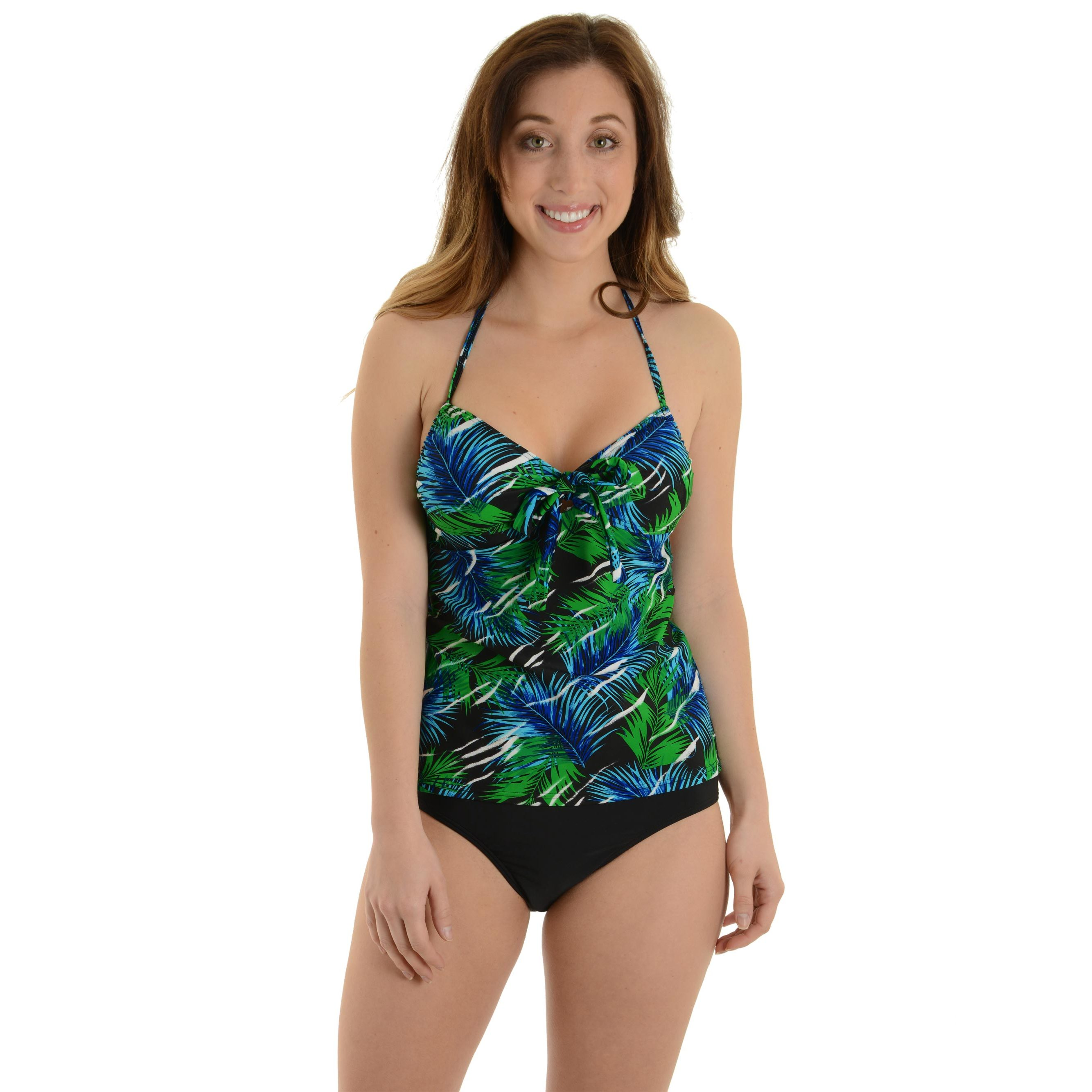 Caribbean Women's 2 Piece Halter Tankini Swimsuit Set with Tropical Print