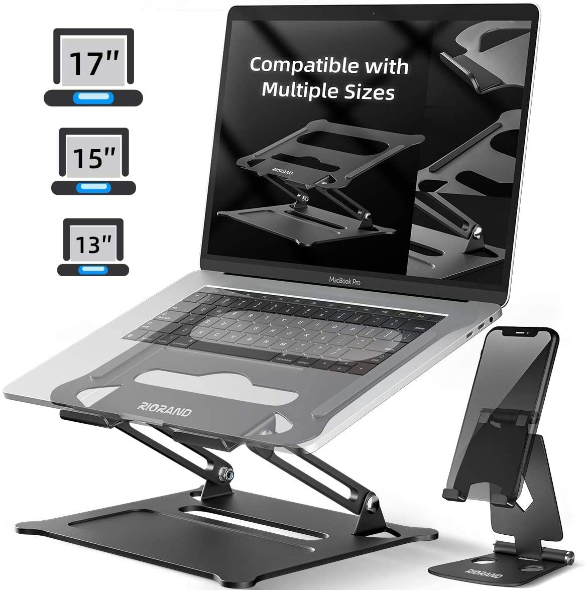 Portable Foldable Stand with MacBook Air Pro Lenovo Light Weight Aluminum Up to 17 Silver Ergonomic Adjustable Notebook Stand Riser with Vents Laptop Stand Holder Dell HP