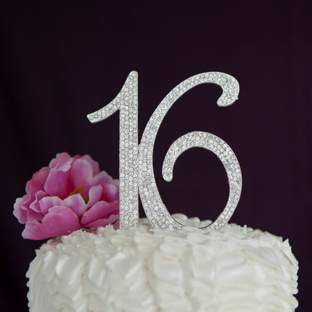 Sweet 16 Cake Topper 16th Birthday Party Supplies Decoration Ideas (Silver) (Race Car Birthday Party Ideas)