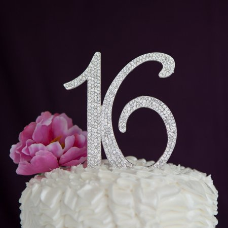 Sweet 16 Cake Topper 16th Birthday Party Supplies Decoration Ideas (Silver) (Birthday Cake Supplies)