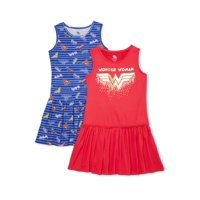 2-Pack Wonder Woman Exclusive Girls' 4-12 Drop Waist Dress