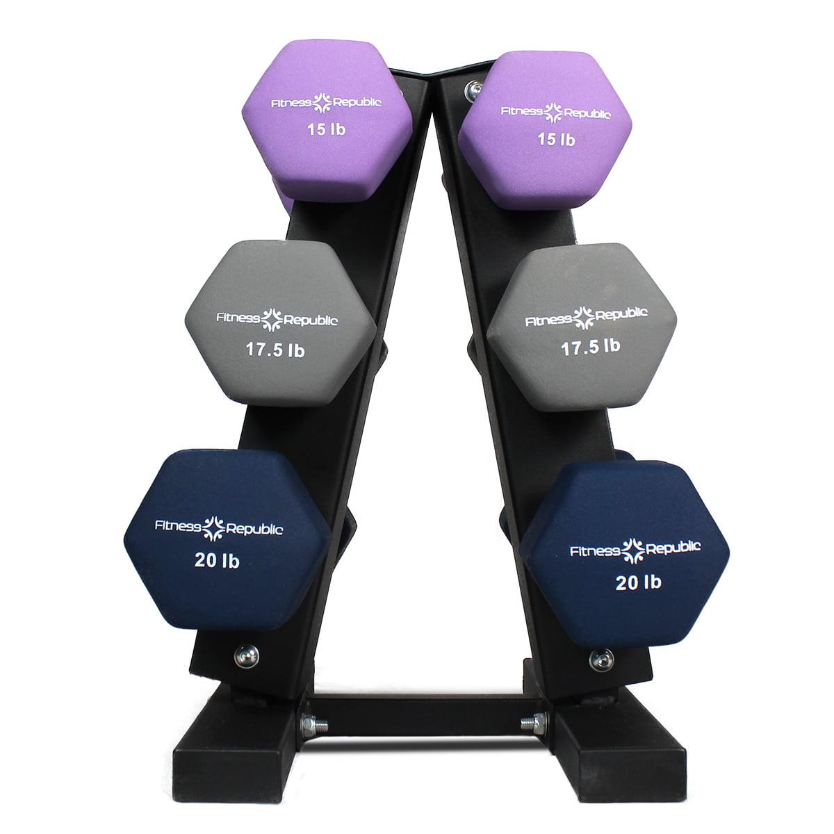 Fitness Republic Neoprene Dumbbells Pairs (2lb, 4lb, 6lb, 8lb & 10lb) with 5 Tier Rack by Fitness Republic