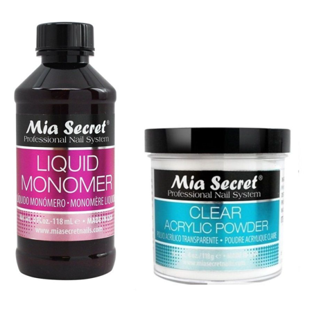 Mia Secret 4 Oz Liquid Monomer 4 Oz Clear Acrylic Powder Professional Nail Set+ Free Temporary Body Tatoo!